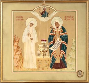 икона святителя Тихона, Патриарха Московского, с частью подризника